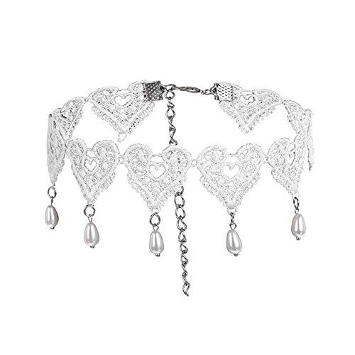 PULABOfashion corazón forma encaje señoras collar Halloween clavícula cadena perla colgante elegante mujeres fiesta joyería accesorios alta calidad