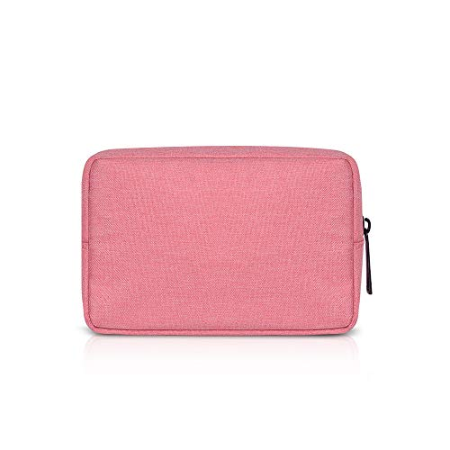 Electronic Accessories Bag,Digital Gadget Organizer Case,Nylon Travel Gear Storage Carrying Sleeve Pouch for Cable,USB,Earphones,Portable Hard Drives,Power Banks,Adapters or Camera Accessories,Pink