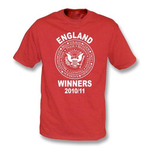 PunkCricket Inglaterra Cenizas ganadores 2010/11(Estilo de Ramones) Camiseta Rojo XL