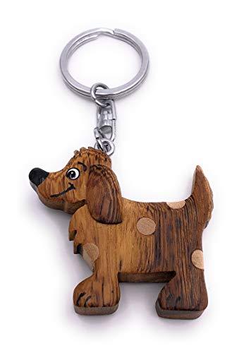 H-Customs Hund mit Punkten Haustier Holz Edel Handmade Schlüsselanhänger Anhänger