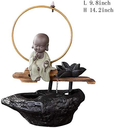 LIN-rlp Sculptures Statue Desktop Fountain,Desktop Zen Fountain Little Monk Water Fountain Censer Buddha [Household] [Office] Fortune Desktop jewelr (Color : Did Not Say, Size : 14.2inch)