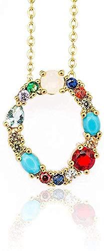 huangxuanchen co.,ltd Collar con Colgante Inicial de Color Dorado, Collar de circonita AZ, 26 Letras, Nombre de Personalidad, Accesorios de joyería para Mujeres, Regalo