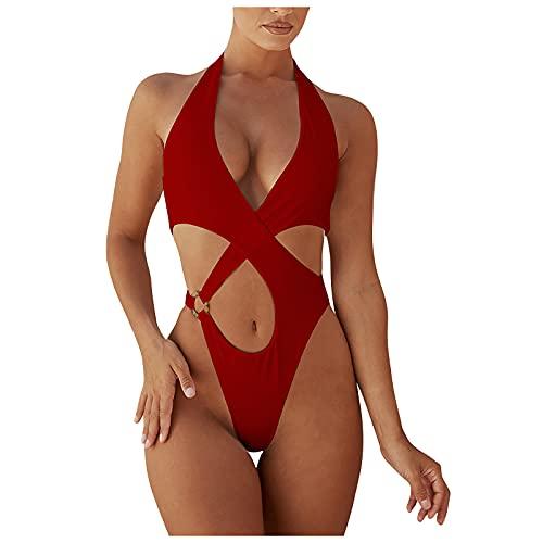 Briskorry Costume da bagno intero da donna, a fascia, con reggiseno push up, sexy, con scollo a V, tinta unita, elegante, sexy, da spiaggia, Colore: rosso, XXL