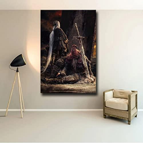 GZCJHP Pintura sobre lienzo 50x70cm sin marco El juego Cartel Decoración Pintura de las Almas Oscuras 3 en HD Art Decor