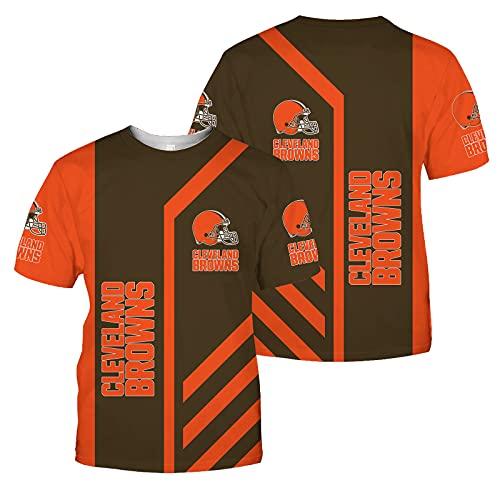 Xiaolimou 2021 Men's Rugby Camiseta, Cleveland Browns Hombres American Football Jersey Camiseta Top Sudadera Sweatshirt Sports, Camiseta De Rugby De Manga Corta, Cómoda Y Transpirable,Naranja,XXXXL