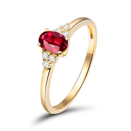 Aimsie Mujer Unisex AU750 oro amarillo 18 quilates (750) talla ovalada rojo Ruby