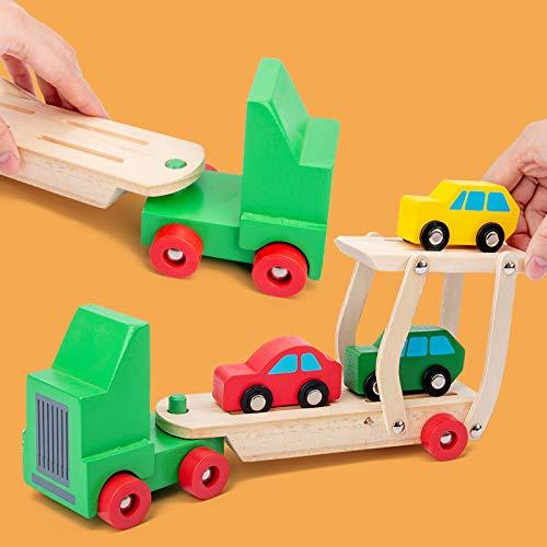 DishyKooker houten vliegtuig model dubbeldekker-vrachtwagentransporttransport-transport-transport-voortijdig pedagogisch speelgoed voor kinderen