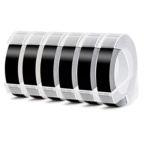 Aken - 3D Etiquetas compatible para usar en lugar de Dymo 9mm Embossing cinta, Cinta for Dymo Omega Junior Organizer Xpress Motex Embossing Impresora, Estampado blanco sobre negro, 9 mm x 3 m, 6 Rolls