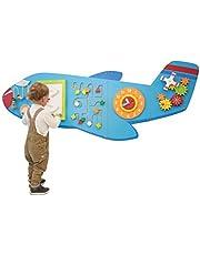لوحات حائط نشاط الطائرة من ليرنينج أدفانتج - مركز أنشطة للأطفال - لعبة تثبيت على الحائط للأطفال من سن 18 شهراً فما فوق - ديكور للأطفال لمساحات اللعب