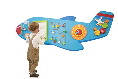 LEARNING ADVANTAGE Airplane Activity Wall Panels - Toddler Activity Center - Wall-Mounted Toy for Kids Aged 18M+ - Kids Decor for Play Areas