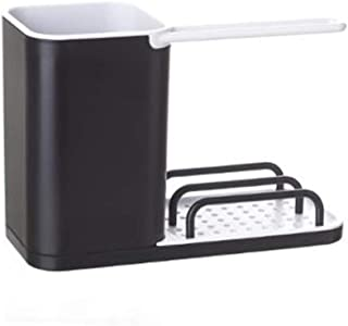 VITA PERFETTA Organisateur d'Evier - Rangement Evier - Range Éponge, Grattoir, Brosse, Liquide Vaisselle (Noir)