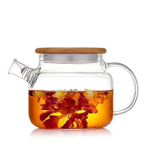 YLJYJ Tetera pequeña, Tetera de Vidrio Resistente al Calor de 500 ml para Oficina en casa con Tapa de bambú (Seta de té)