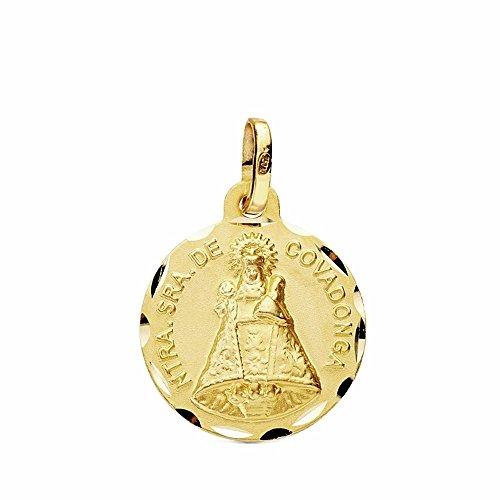 Medalla Oro 18K Virgen Covadonga 16mm. Tallada [Ab3440]