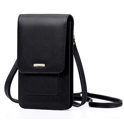 Peacocktion Small Crossbody Cell Phone Bag for Women, Leather Shoulder Bag Card Holder Phone Wallet Purse (Black)