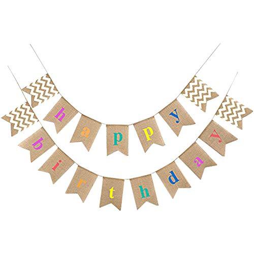 G2PLUS Happy Birthday Leinen Wimpel Girlande, 15.7 Fuß Vintage Hessischen Wimpelkette mit 17 STK Farbenfroh Wimpeln für Party Dekoration