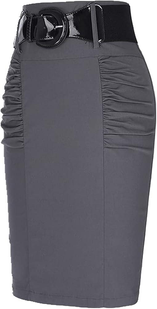 Women Shirred Detail Ladies Skirts Pure Pleated Design Elegant