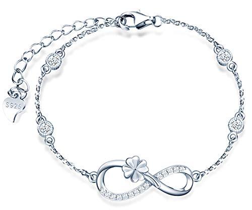 *Beforya Paris* - Infinity Klee - Pulsera ajustable - con circonitas - de plata 925 - Pulsera para mujer maravillosa con caja de regalo.
