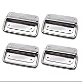 10 Pieces Pull Handles Stainless Steel Cabinet Lifting Ring Pull Handles for Toolbox Silver Tone 100mm x 58mm