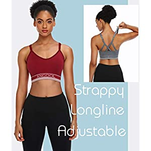 Strappy Sports Bras for Women, Longline Medium Support Yoga Bra Wirefree Padded Sports Bra with Adjustable Straps Red 3 Pack