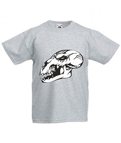 Camiseta con diseño de calavera, dinosaurio antes de nuestro tiempo, pico, esqueleto, malvado, motoclub, gótico, moto, calavera, evo, escuela antigua, para hombre, mujer, niños, 104 – 5 XL gris Talla del hombre: 4X-Large