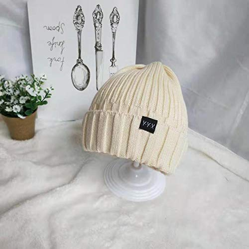 mlpnko Sombreros para nios Color slido Salvaje Simple Gorro de Punto para bebs nios y nias Gorras de Lana clidas cdigo de Color Beige