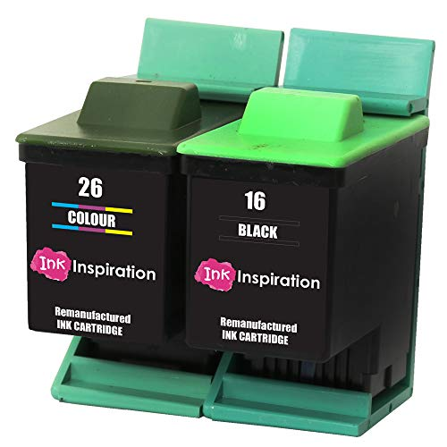 2er Set INK INSPIRATION® Ersatz für Lexmark 16 & 26 Druckerpatronen kompatibel mit Lexmark I3 X1100 X1150 X1170 X1180 X1190 X1195 X1200 X1270 X2250 X72 X74 X75 Z25 Z35 Z515 Z605 Z615 Z640