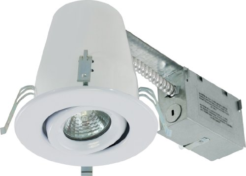 Liteline RC40218RE-WH All-in-One 4-Inch Recessed Combo with Remodel Housing, 50W 120V MR16 E26 Halogen Lamp and Gimbal Trim, White