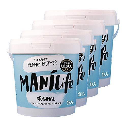 ManiLife Erdnussbutter 4kg - Peanut Butter - Alles Natürlich, ein Anbaugebiet, ohne Zuckerzusatz, ohne Palmöl – Original Roast Crunchy – (4 x 1kg)