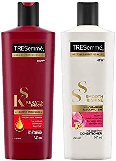 TRESemme Keratin Smooth Shampoo, 340ml & TRESemme Smooth and Shine Conditioner, 190ml