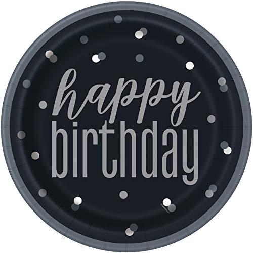 BLING - Decoración para fiestas y vajilla para 80 cumpleaños en negro y plateado Glitz (platos de papel)