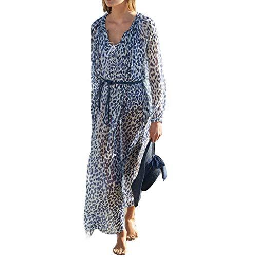 Ai.Moichien Femmes À Manches Longues Imprimé Floral Robe Bikini Maillot De Bain Sun Cover Bleu Taille Unique