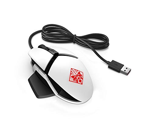 Omen Reactor Mouse Gaming, 6 Programmable Buttons, Response Time 0.2 ms, DPI up to 16000, Customizable RGB LED, Integrated Wrist Rest, USB Cable in Metal, White
