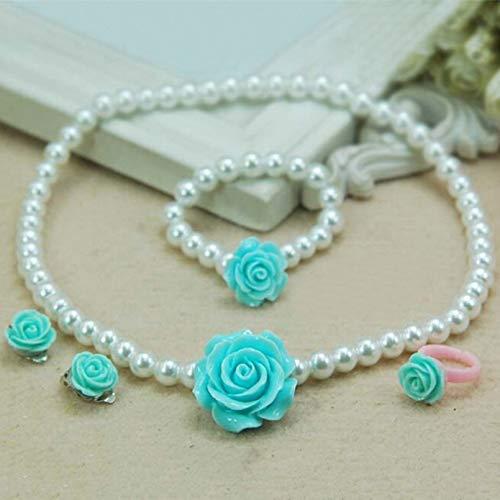 YIKOUQI Lindos Collares Pulseras Anillos Niños Niñas Cuentas de Perlas simuladas Flor Encantador Colgante Accesorios Conjuntos de Regalo