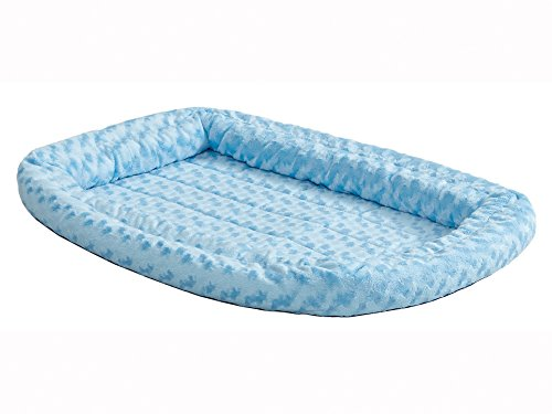 Double Bolster Pet Bed | Blue 22-Inch Dog Bed ideal for XS Dog Breeds & fits 22-Inch Long Dog Crates