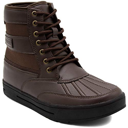 Nautica Men's Sullivan Lace Up Winter Snow Boots Insulated Duck Ankle Shoe-Brown-10