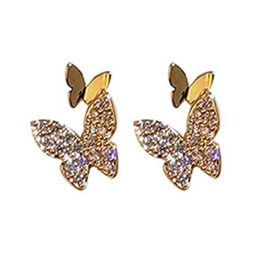 Ruby569y Pendientes colgantes para mujeres y niñas, pendientes de mariposa con clip de oreja brillante para fiesta, boda, accesorio de regalo - 07