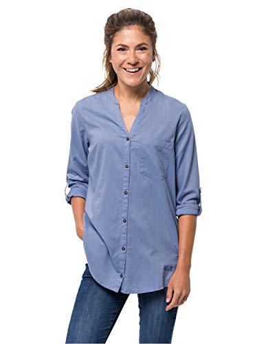 Jack Wolfskin Damen Indian Springs Shirt, Dusk Blue Stripes, XL