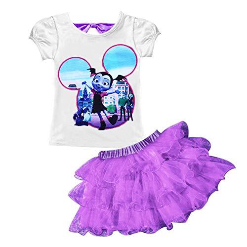AOVCLKID Little Girls' 2Pcs Suit Cartoon Shirt and Skirt Set (Purple,120/4-5Y)
