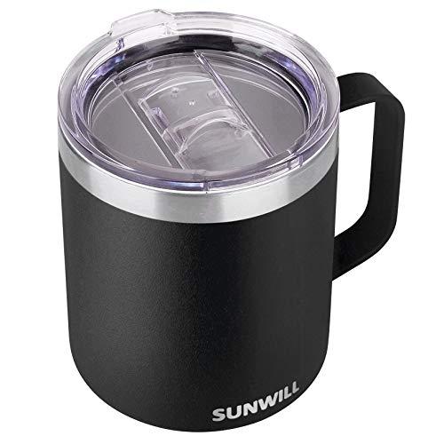 SUNWILL Coffee Mug with Handle, 14oz Insulated Stainless Steel Reusable Coffee Cup, Double Wall Coffee Travel Mug, Powder Coated Black