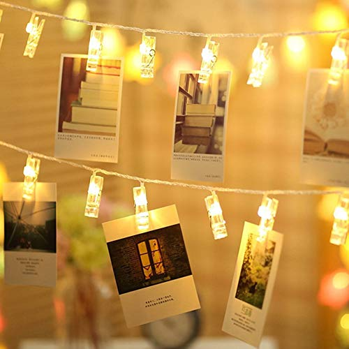 Opard LED Fotoclips Lichterkette, 6M/40 LED Foto Lichterkette Batteriebetriebene Clip Bilder Lichterketten Bilderrahmen Dekoration Stimmungsbeleuchtung, Dekoration für Wohnzimmer, Weihnachten,Party
