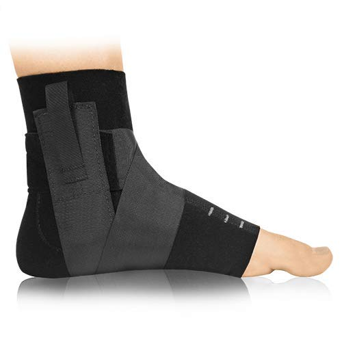 BIOSKIN™ Premium Compression Ankle Brace for Sprained Ankle, Swollen Ankle and Post Op Recovery (M-L)