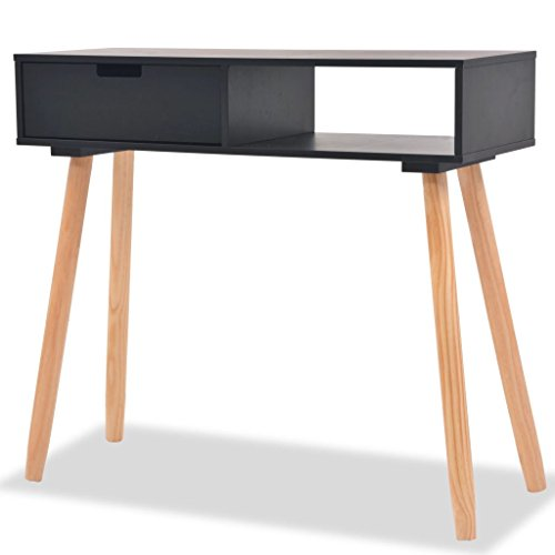 vidaXL Console Table Solid Pinewood Black Living Room Side End Telephone Stand