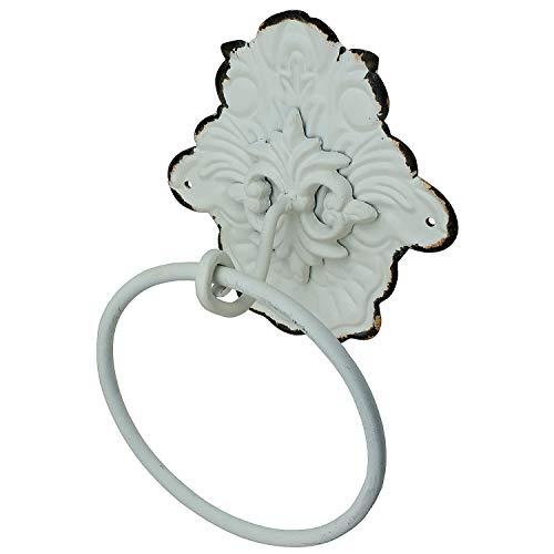 MACOSA SA84048 Türklopfer mit Ring Vintage Antik-Weiß Metall Shabby Chic Floral Tür-Verzierung Türdekoration klassisch Haustür & Wand-Dekoration