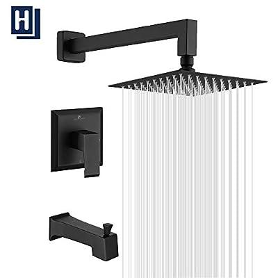 "HOMELODY Shower Faucet Shower Valve Trim Kit Tub and Shower Faucet Set Rainfall Shower System with 8"" Touch-Clean Shower Head, Bathtub Faucet, Stainless Steel, Matte Black"