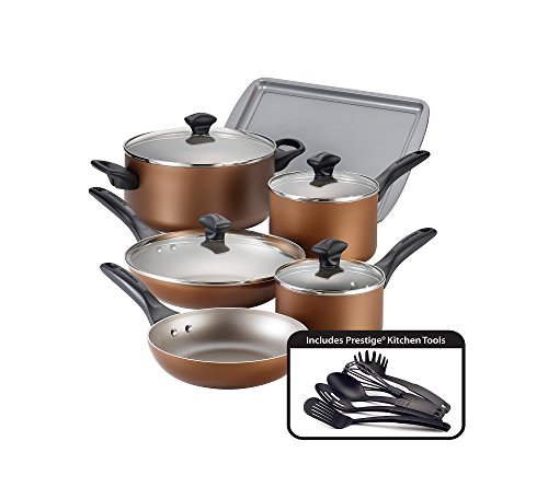 Farberware Dishwasher Safe Nonstick Cookware Pots and Pans Set, 15 Piece, Copper