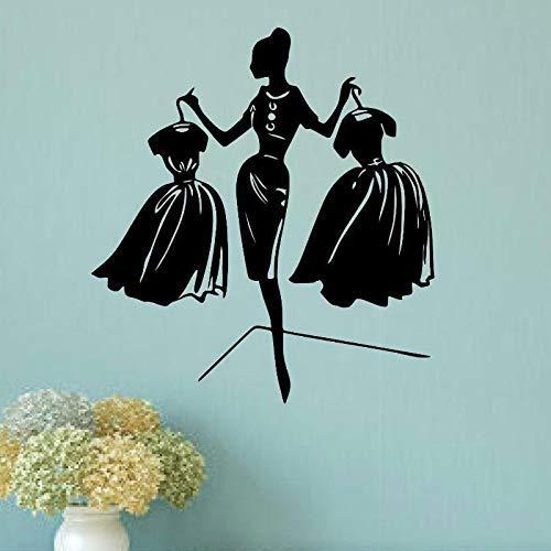 Vrouw Winkelen Vinyl Muurstickers Kleding Shop Raam Winkelcentrum Decoratieve Schilderij Behang 42x46cm