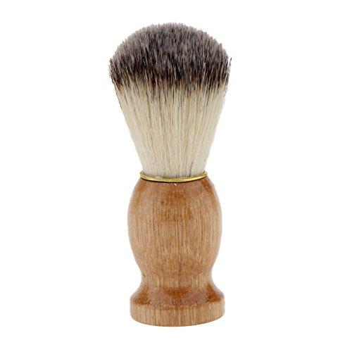 Sharplace Pro Brosse de Rasage Manuel Blaireau à Raser en Poils Doux Poignée en Bois pour Homme Barbier