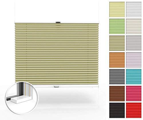 Home-Vision® Premium Plissee nach Maß, zum Anschrauben in der Glasleiste Innenrahmen Blickdicht Jalousie mit Halterungen zum Bohren, Verschiedene Profilfarben (Beige, B51-60cm x H151-200cm)