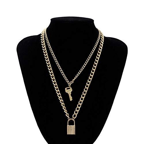 TWWTHX Collar gótico Punk DIEZI, Collar de Gargantilla Vintage de Color Dorado y Plateado para Mujer, Collar con Colgante de declaración de Bloqueo geométrico Femenino, Nueva joyería de 2019, Llave