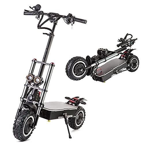 Scooter Eléctrico Plegable 11 Pulgadas, Bicicleta Eléctrica Portátil Para Adultos 6000 W, Doble Accionamiento, Batería Gran Capacidad 60 V, Velocidad Máxima 52,8 MPH, Freno Hidráulico,60V 19.2Ah